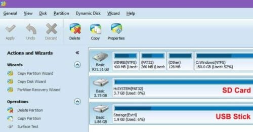 SD Card Fat32 and USB Ext4 Partitions