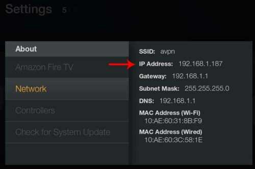 Amazon Fire TV IP Address