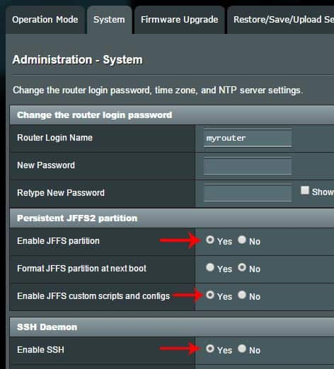 Enable JFFS and SSH on Asus-WRT