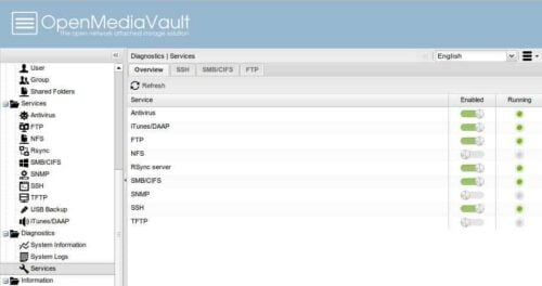 OpenMediaVault Interface