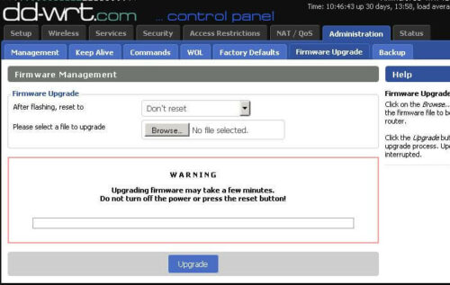 DD-WRT Firmware upgrade page
