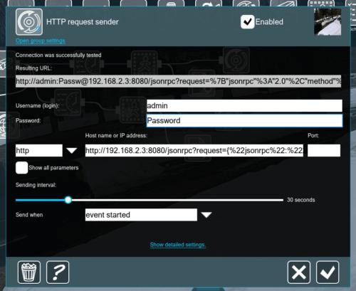 HTTP Request Sender Settings