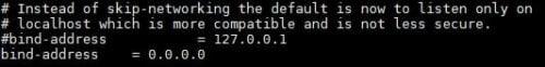 Edit MySQL Bind Address