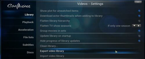 Export Kodi Library