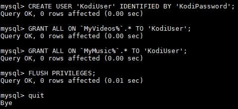 Kodi MySQL User and Privileges