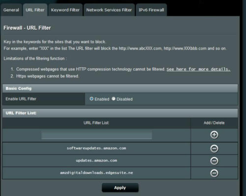 Block Fire TV Updates with Router URL Filter