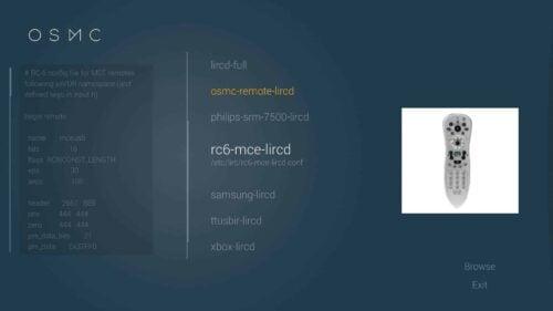 OSMC Remote Preset Settings