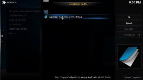 Kodi Install SuperRepo from Zip File