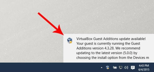 VirtualBox Guest Additions Update Notification Windows 10