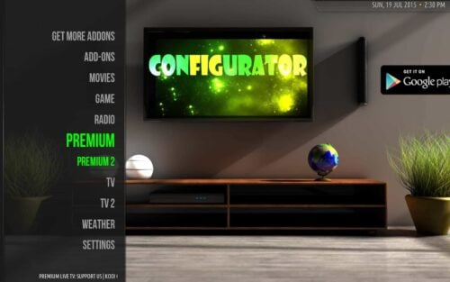 Install Kodi Configurator Main Screen