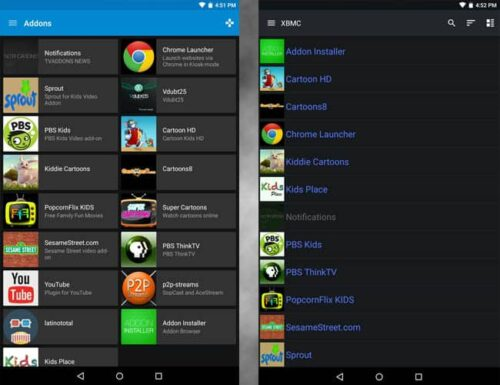 Addons library Yatse and Kore Kodi remote app