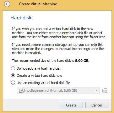 Create VM Hard Drive on VBox