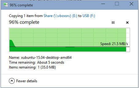 VirtualBox USB 3 Write Speed