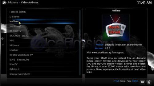 Install Icefilms Kodi addon list