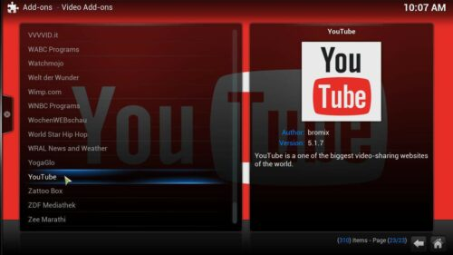 install YouTube Kodi addon list