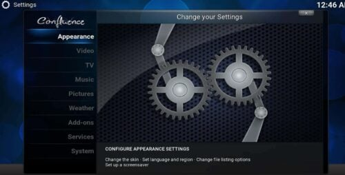 Change Kodi appearance via settings