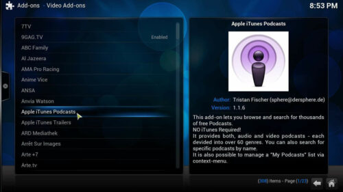 Install Apple Podcasts Kodi addon list
