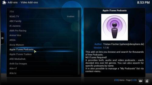 Install Apple Podcasts Kodi addon list