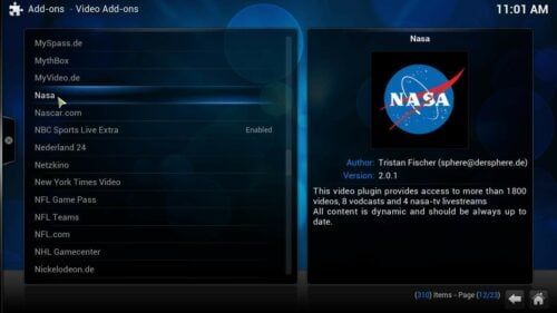 Install NASA Kodi select