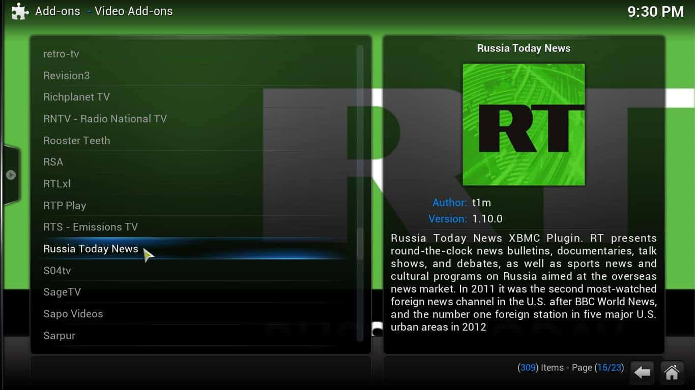 Guide: How to install Russia Today Kodi addon