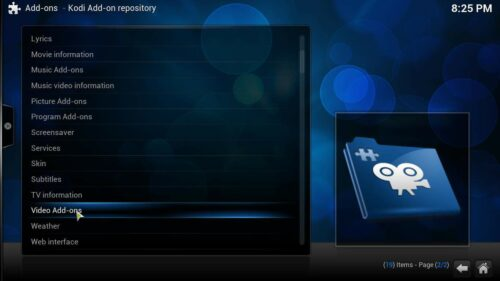 Install Kodi addons video