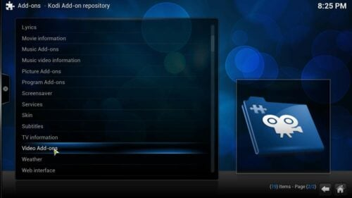 Install Kodi addons video