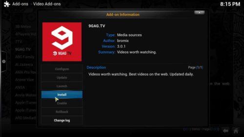 Kodi official repo install addon