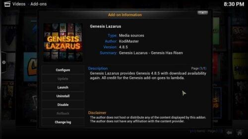 Downgrade Genesis 5 Lazarus