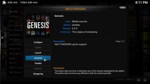 Genesis 4.8.5 Uninstall Genesis 5