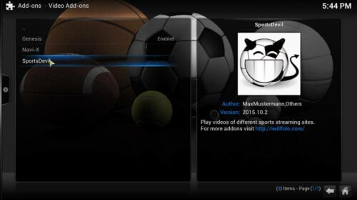 Kodi SportsDevil addon select