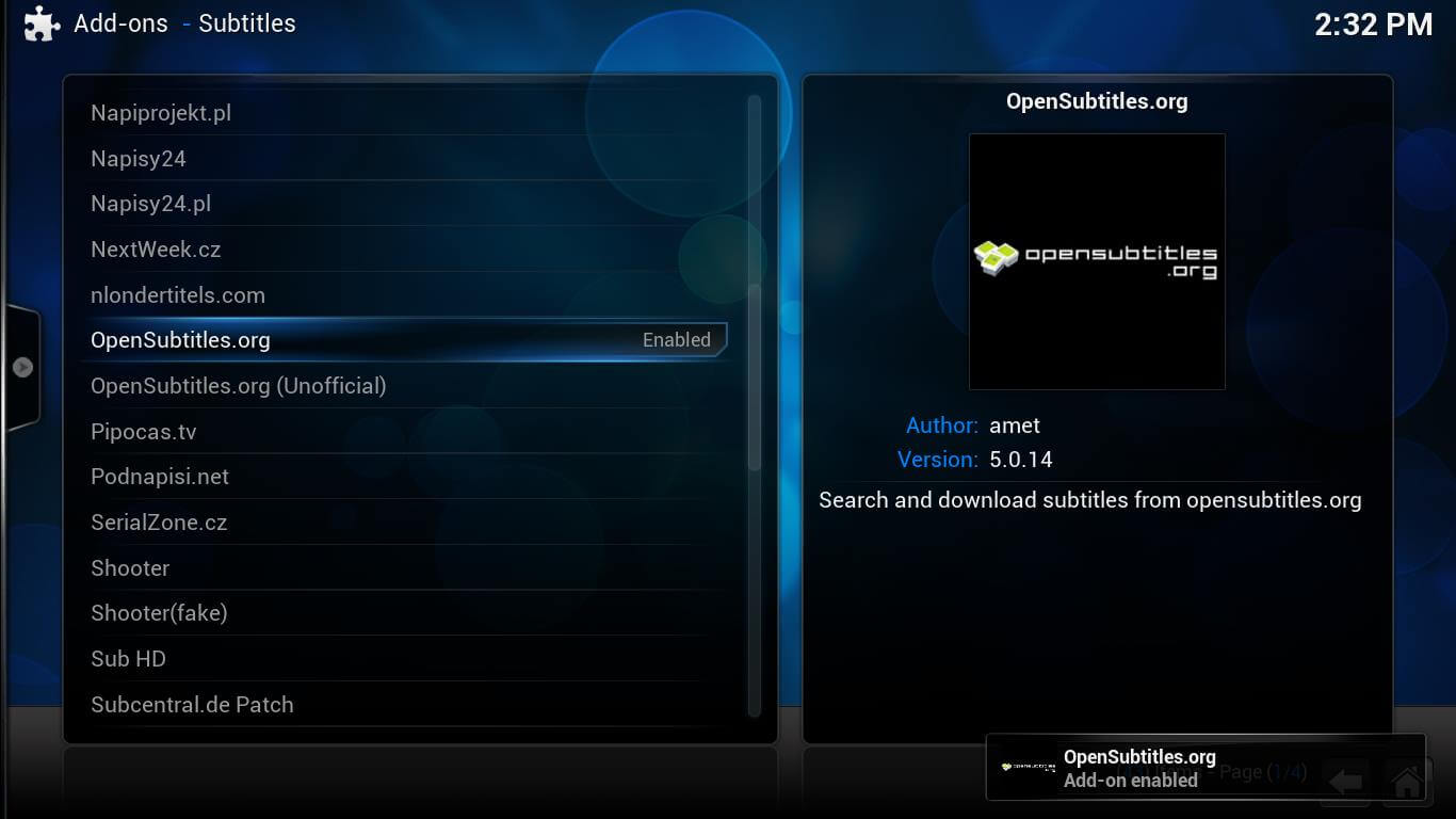 how to delete a subtitle add on in kodi