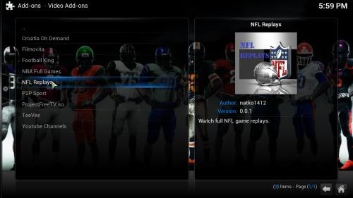 Kodi sports addon NFL Replays