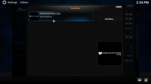 Subtitles for movies in Kodi select service