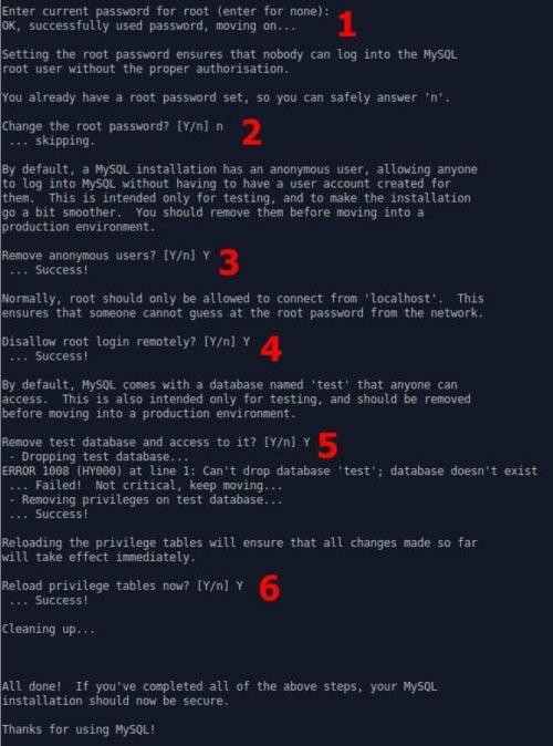 Secure MySQL Installation - Steps