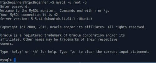 MySQL Prompt on Ubuntu
