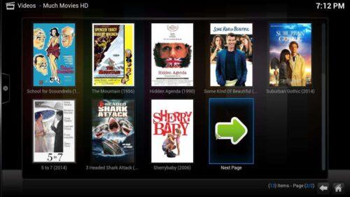 Install Kodi Much Movies HD selection
