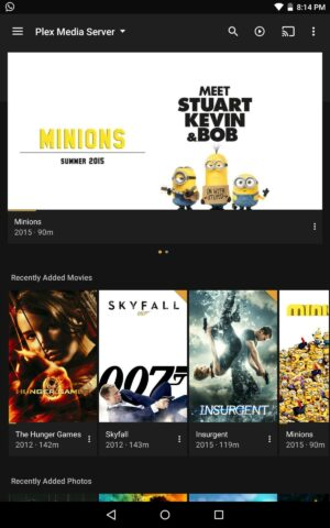 Install Plex Android main menu