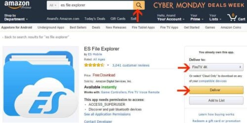 Install ES File Explorer on Amazon Fire TV