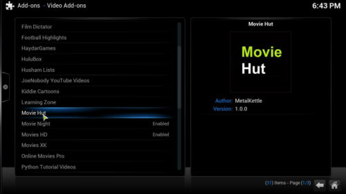 Free movies Kodi Movie Hut addon