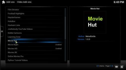 Free movies Kodi Movie Hut addon