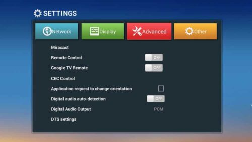 T8-AML-V3 Android TV Box Advanced Settings