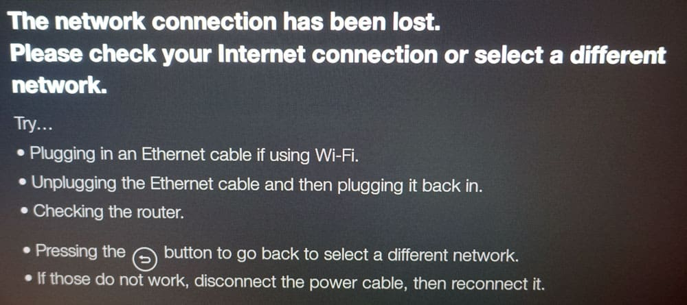 Fire TV update fails with network connection lost message