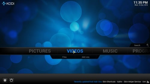 Kodi Addon Shortcuts main menu