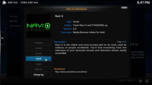 Kodi Navi X addon install.