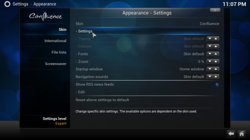 Kodi Addon Main Menu settings
