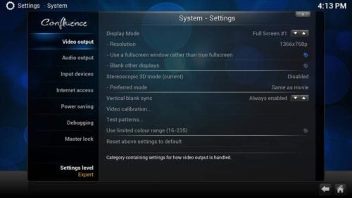 Kodi Video Options main settings