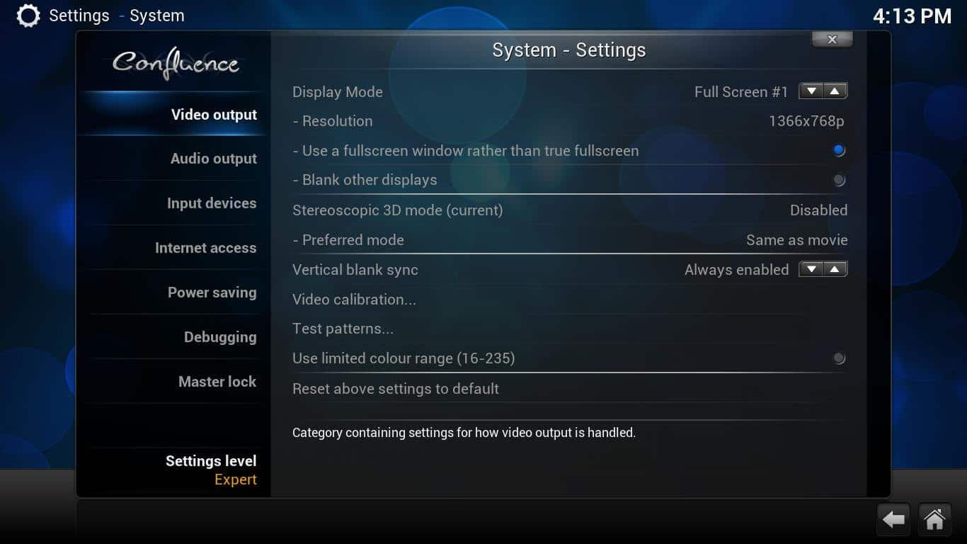 how to change kodi to windowed mode
