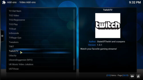 Gaming addons for Kodi TwitchTV