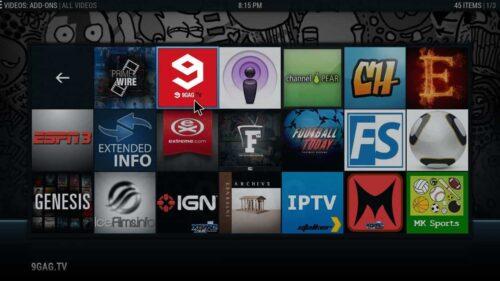 Kodi menu interface icons