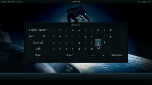 Aeon Nox graphical interface for Kodi onscreen keyboard